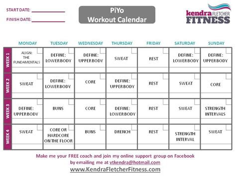 piyo schedule  workout calendar workout pinterest