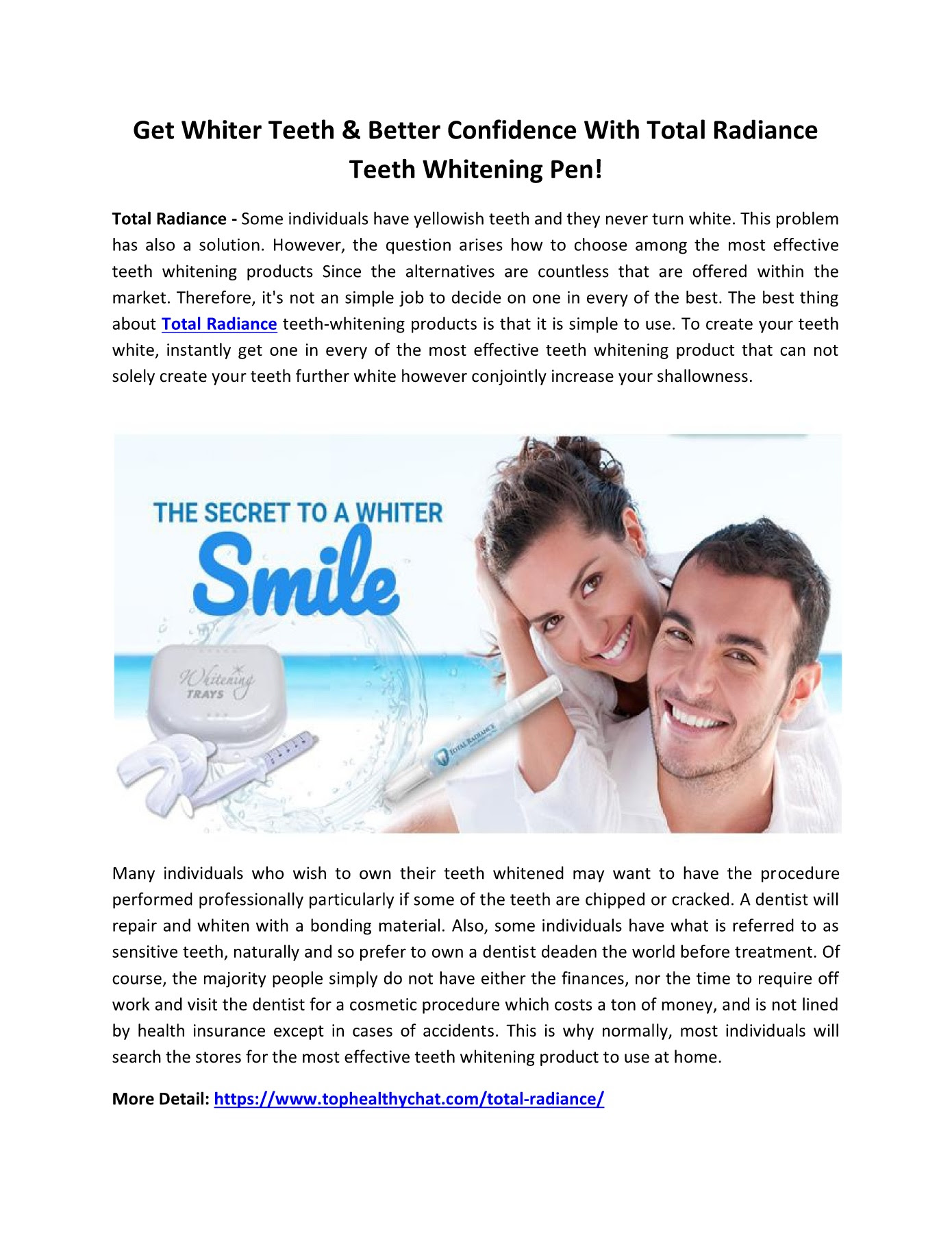 Total Radiance Get A Beautiful Smile Easily Pages 1 1 Text