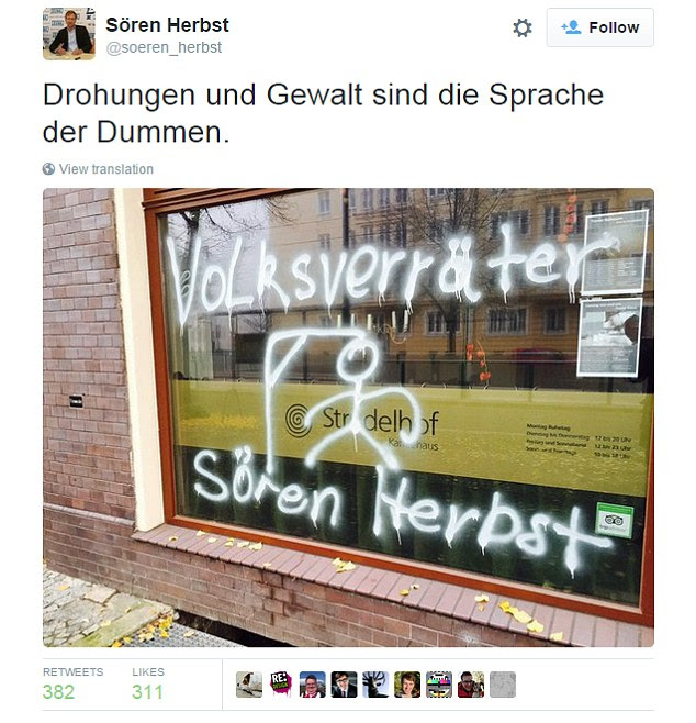 Politician Soeren Herbst, who regularly speaks out against the far right, said someone had sprayed a gallows on the front of his house in Magdeburg, Germany