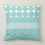 Crazy Teal Blue Patterns Circles Floral Plaid Wave Throw Pillow