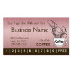 Pink Coffee Punch Cards on Both Sides Double-Sided Standard Business Cards (Pack Of 100)