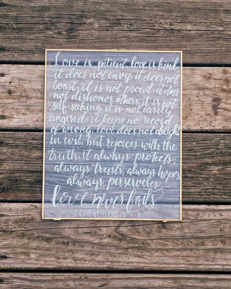 1 Corinthians 13 Sign Love Is Patient Love Is Kind Custom Wedding