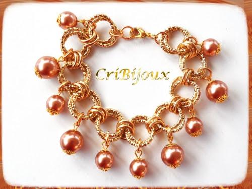 bracciale chainmaille dorato perle
