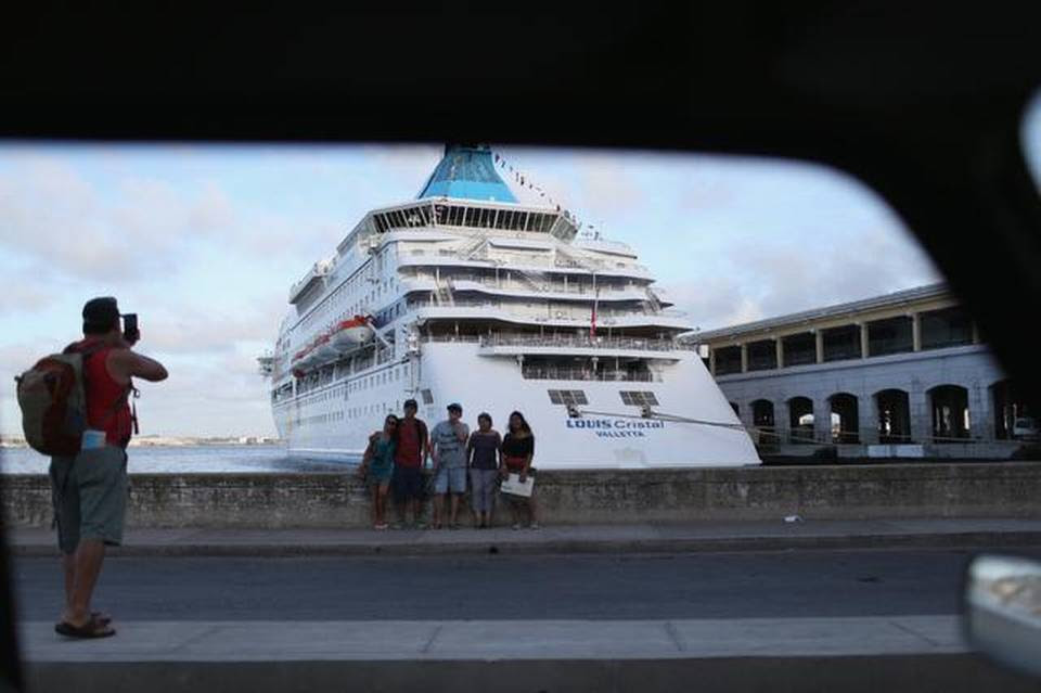 A cruise ship is seen in Port of Havana on Feb. 23, 2015 in Havana, Cuba.