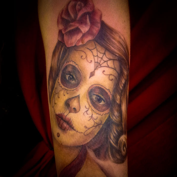 Day Of The Dead Girl Tattoo Portrait Heart For Art Tattoo Shop