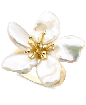 14k Gold Cultured Freshwater Keishi Pearl and Diamond Accent Ring