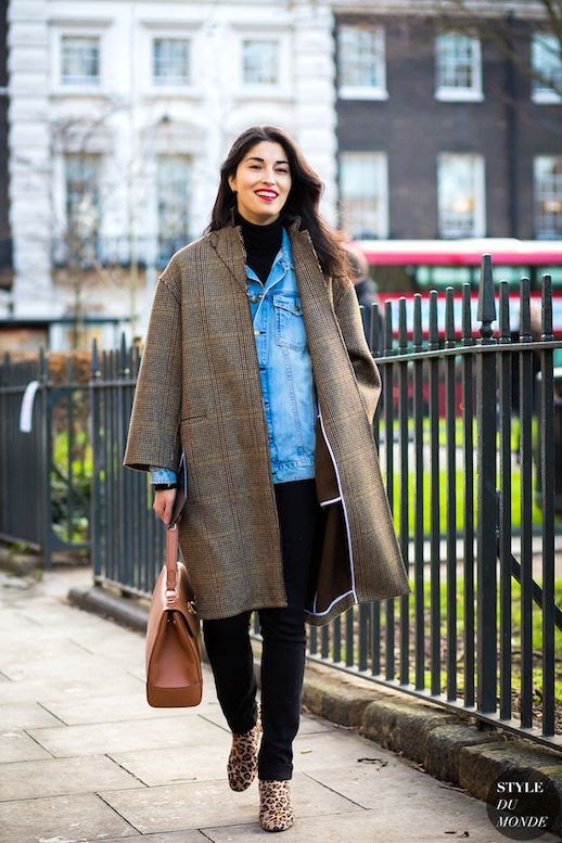 Le Fashion Blog Fall Street Style Layered Look Caroline Issa Plaid Coat Denim Jacket Black Turtleneck Sweater Brown Bag Skinny Jeans Leopard Print Ankle Boots Via Style Du Monde