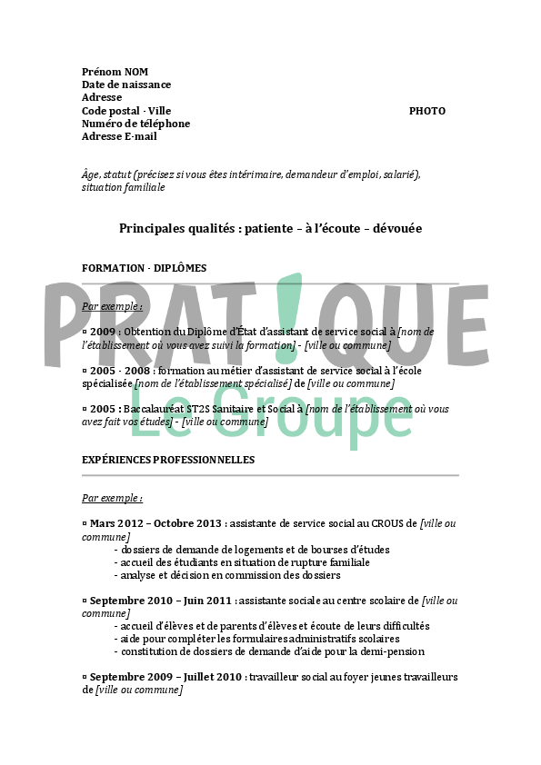 resume format  mod u00e8le cv assistant de direction