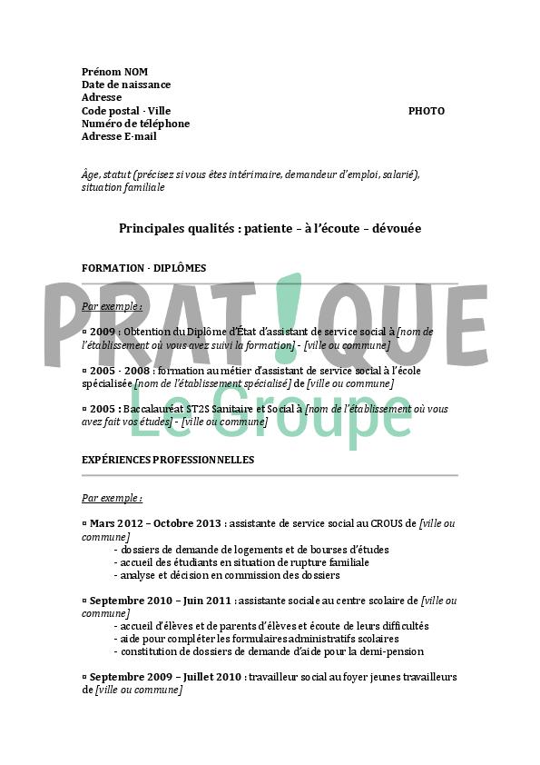 resume format  mod u00e8le cv assistant de direction