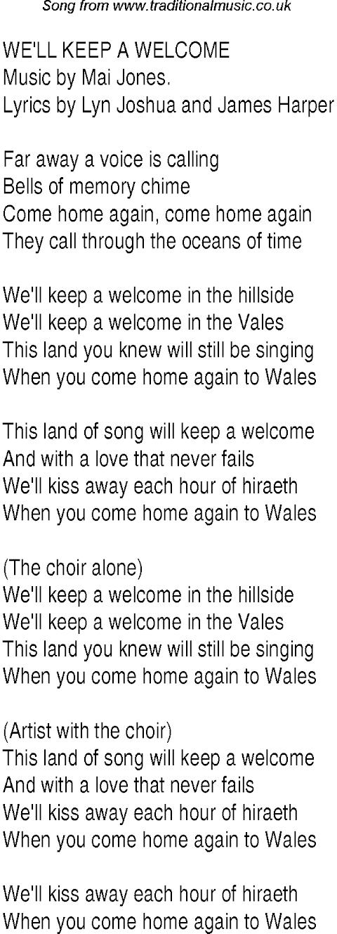 We Ll Keep A Welcome In The Hillside Welsh Lyrics
