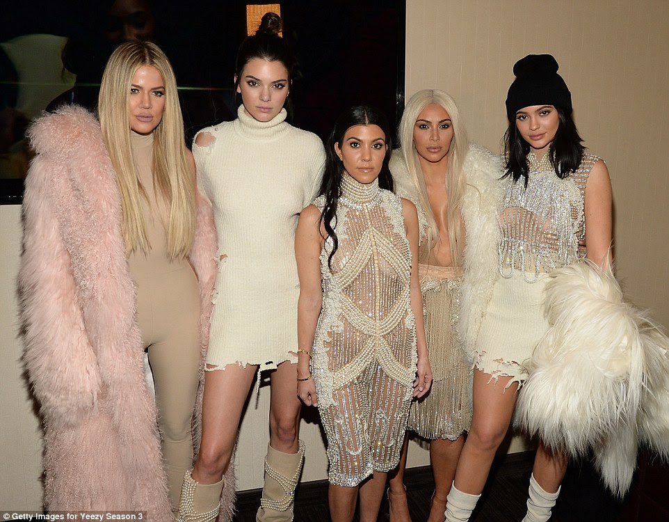 Sister squad: The Kardsahian-Jenners looked fierce in their Yeezy gear. The outfits were a collaboration with Balmain's Olivier Rousteing