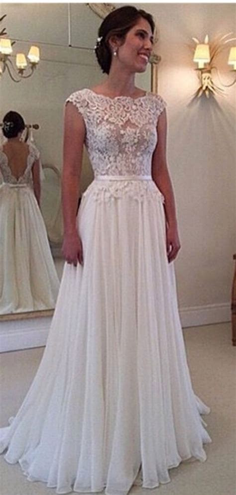 A line Lace Scalloped Chiffon Open Back Wedding Dress I
