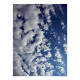 Puffy Clouds On Blue Sky print
