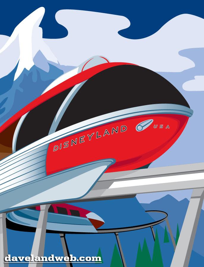 Disneyland Monorail colorized cutout vintage souvenir photo