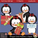 Penguin Girls Presents Clipart - CU