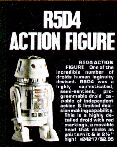 Star Wars R5-D4 action figure 1978 ad