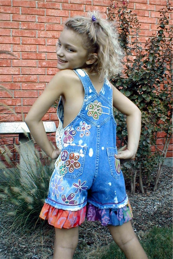 Back of hand painted peace and daisies overalls