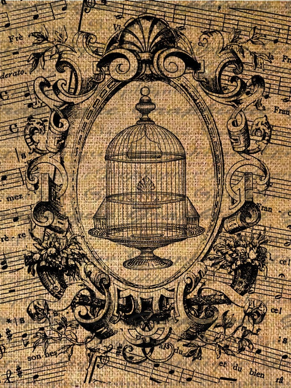 Bird Cage Framed over French Sheet Music Ornate Digital Image Download Transfers To Pillows Totes Tea Towels Burlap No. 2093