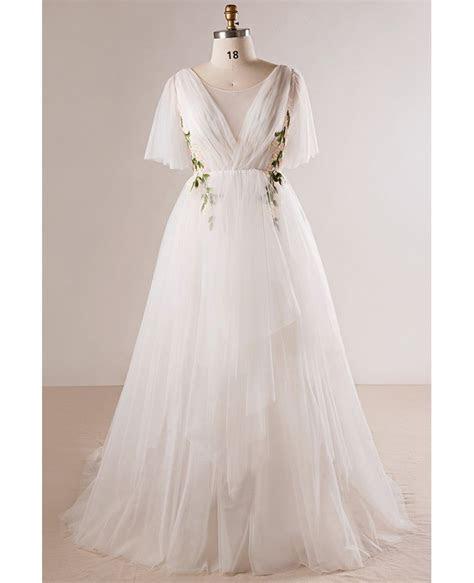 Plus Size Flowing Long Tulle Flowers Beach Wedding Dress