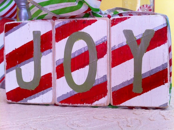 Christmas Candy Cane Stripe Home Decor - Set of 3 wooden block shelf sitters