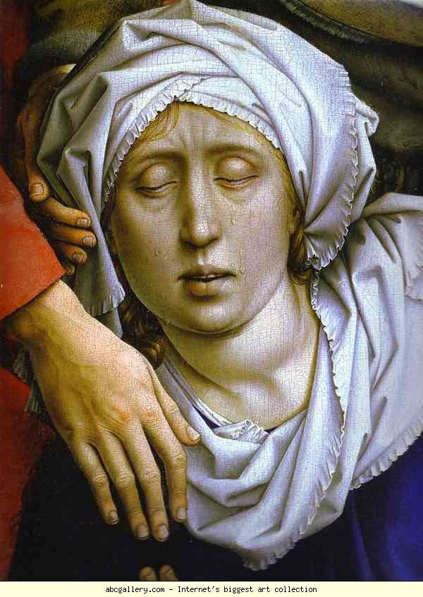 Rogier van der Weyden. Deposition. The Virgin Mary. Detail.