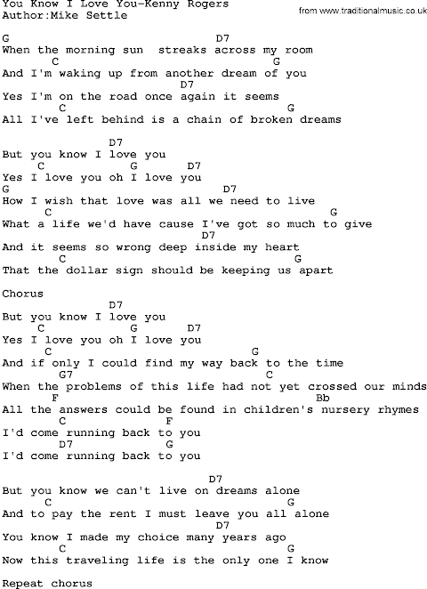 But You Know I Love You Lyrics Kenny Rogers