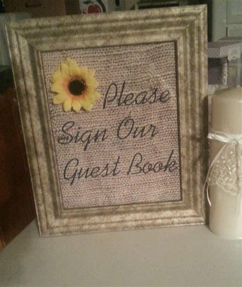 burlap wedding vintage sunflower decor sign  guestbook