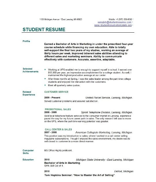 exle resume exle resume for student in college