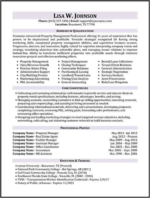 property manager resume sample