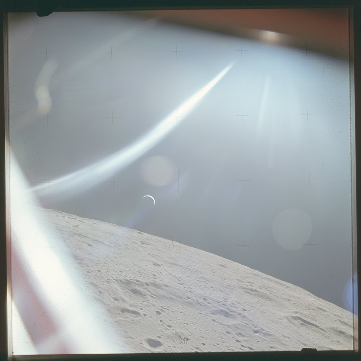 10 - 47 years ago, the crew of Apollo 15 took this photo of the Earth from the moon.
