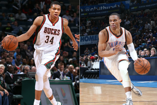 Giannis Antetokounmpo y Russell Westbrook./ Getty Images
