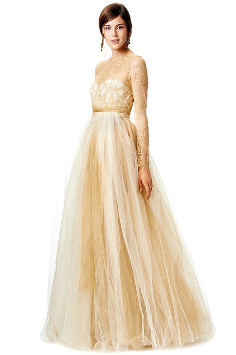Marchesa Gold lace ball gown with five layer tulle skirt