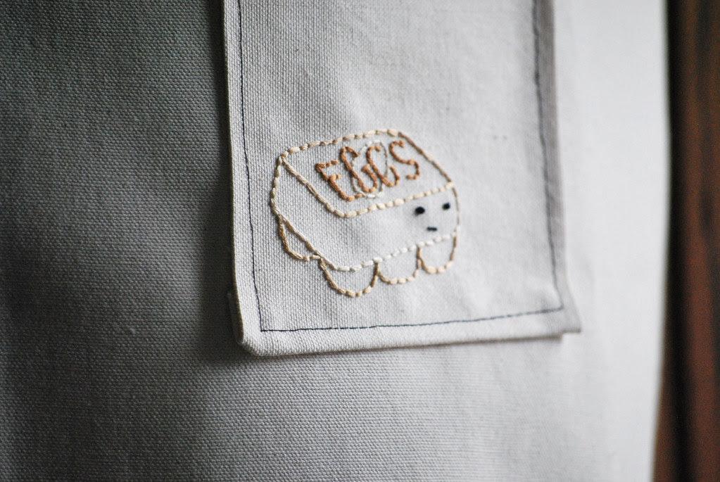 egotistical egg embroidered pocket