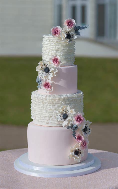 pink wedding cake custom designed 4 tier modern ruffle