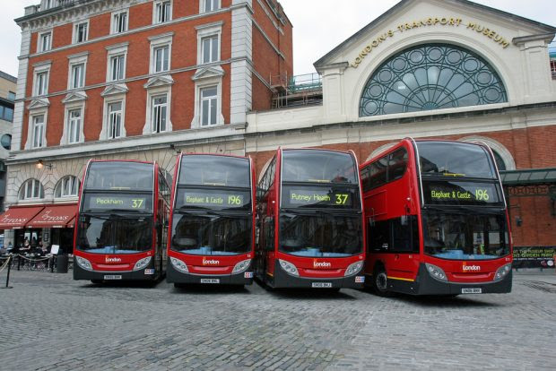 Buses outside Transport Museum in London