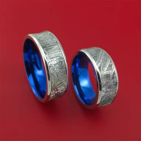 Cobalt Chrome and Meteorite Matching Wedding Band Set