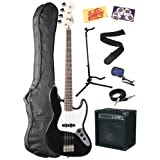 Squier by Fender Bullet Electric Jazz Bass Guitar Bundle with 15-Watt Amp, Gig Bag, Instrument Cable, Stand, Tuner...