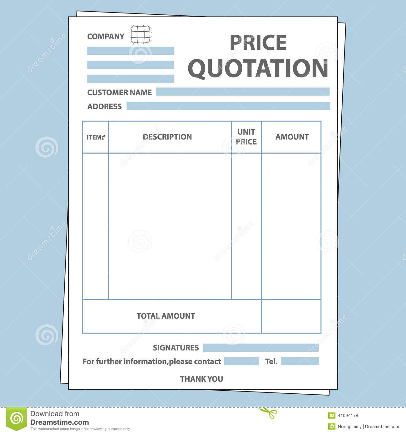 quotation form illustration blank sale price 41094178