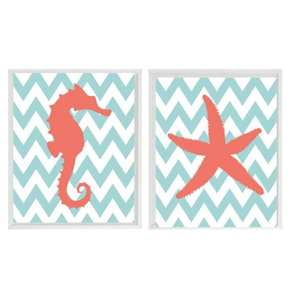 Seahorse Starfish Beach Nautical Sea Creature Chevron Art Print Duo- Nursery Children Room Aqua Coral - Wall Art Home Decor  2 8x10 Prints - RizzleandRugee