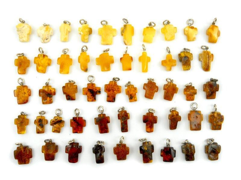 Hand Carved Amber Baltic CROSS - Yellow - Honey - Cognac - Cherry - LITTLE