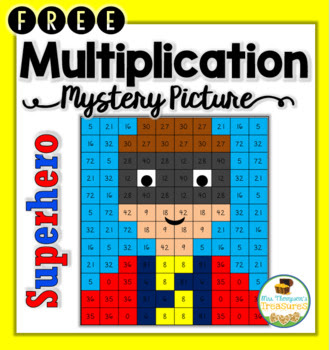 FREE Superhero Multiplication Mystery Picture