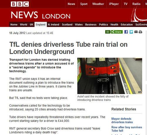 TfL denies driverless rain trials