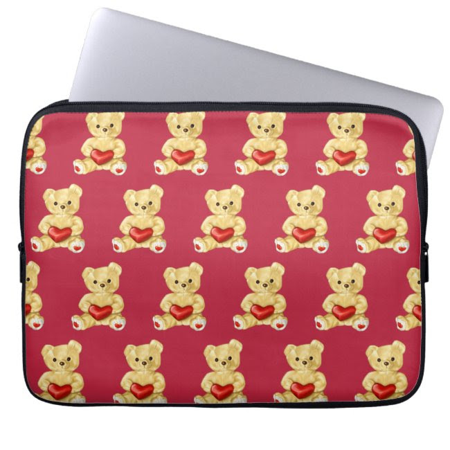 Hypnotizing Cute Teddy Bear Pattern Kids Laptop Sleeve