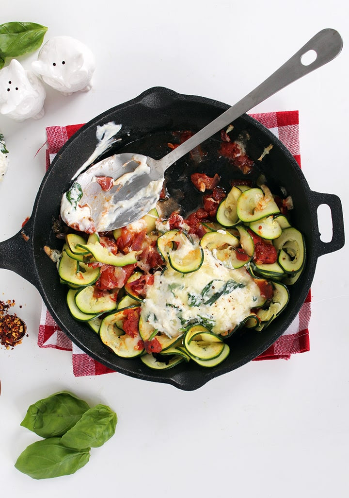 Inspiralized: Deconstructed Manicotti Skillet with Zucchini Noodles