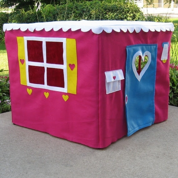 Basic Bungalow with Shutters Card Table Playhouse, Beautiful Raspberry Color, Ships In Ten Days