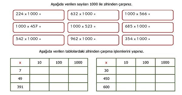 4sınıf Matematik Zihinden çarpma Işlemi Etkinliği Meb Ders
