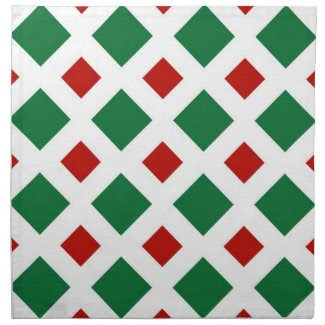 Green and Red Diamonds on White Napkins