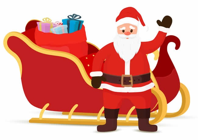 20+ Desenhos de Papai Noel com trenó para pintar