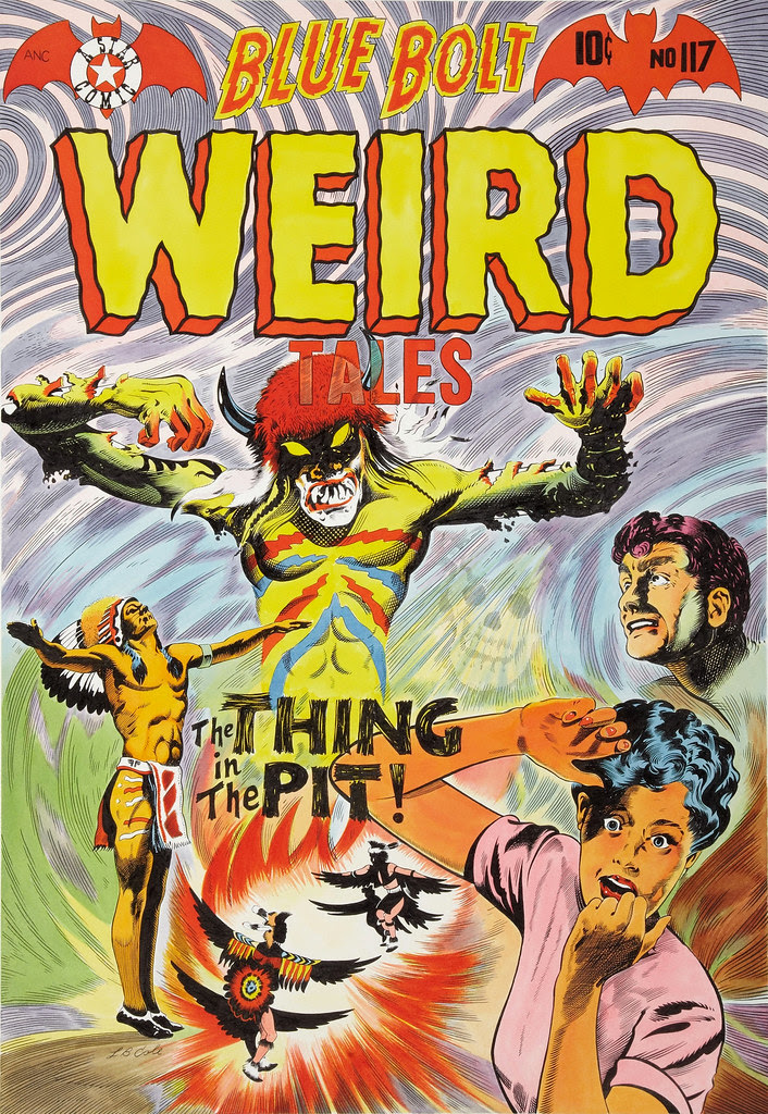 "L. B. Cole Blue Bolt Weird Tales #117 ""The Thing in the Pit"" Cover Re-Creation, 1981"