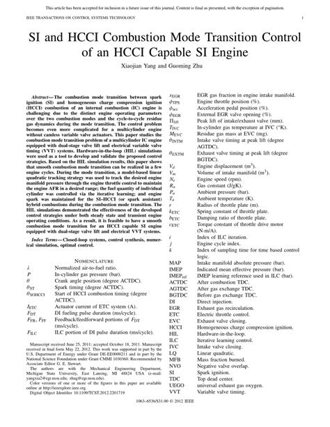 (PDF) SI and HCCI combustion mode transition control of an
